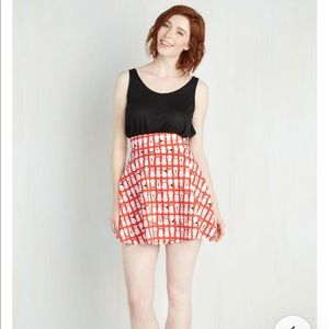 ModCloth Playful Feeling Skater Skirt in Cool Cats
